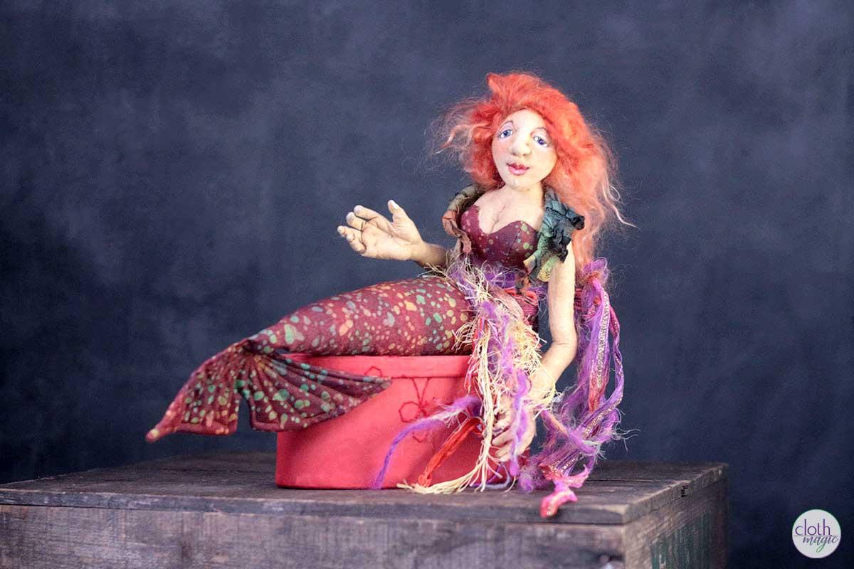 crimson siren art doll by cloth magic