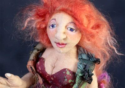 crimson siren art doll by cloth magic