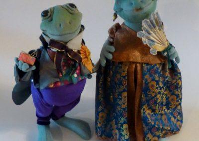 courting frog art doll by karen shifton - 01