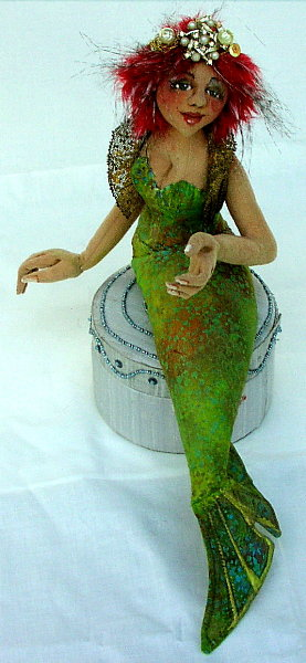 Green Siren Art Doll by Karen Shifton